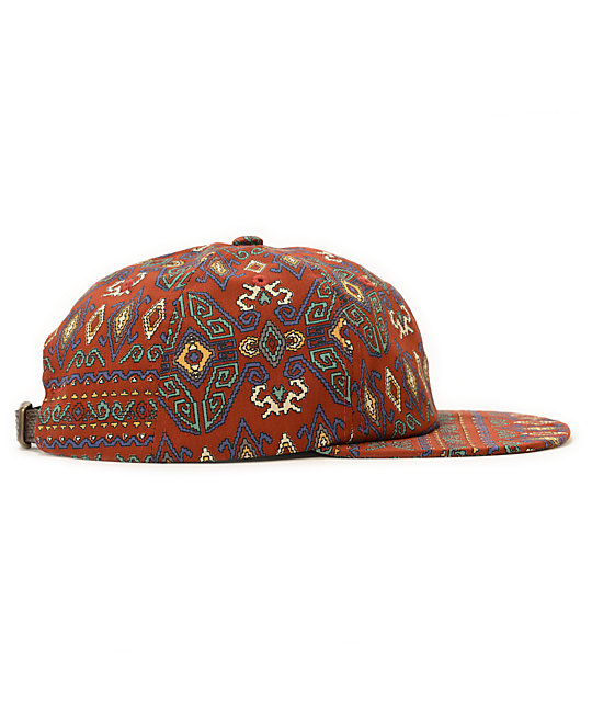 Obey Indio Throwback Red Tribal Print Strapback Hat