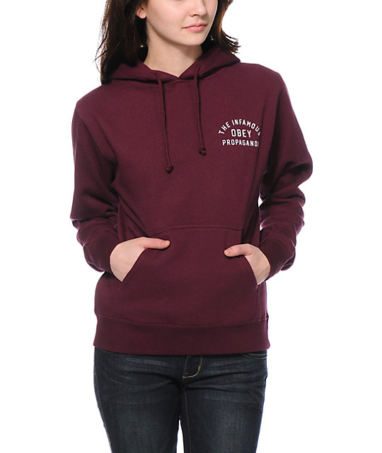 Obey Infamous Maroon Pullover Hoodie
