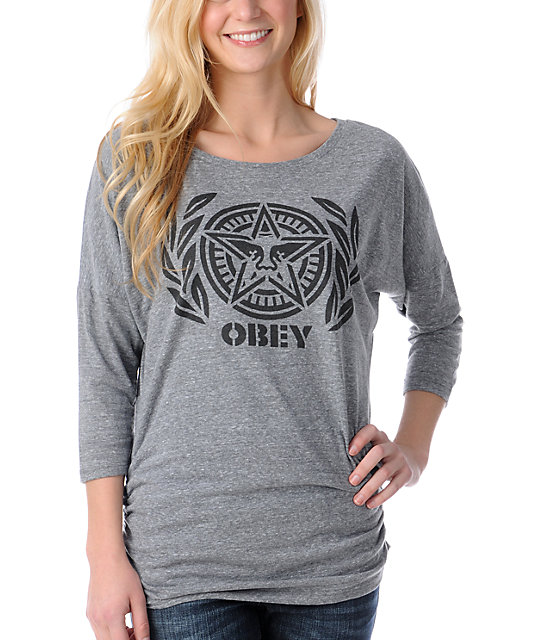 Obey Ivy League Andre Charcoal Tri-Blend Dolman Top