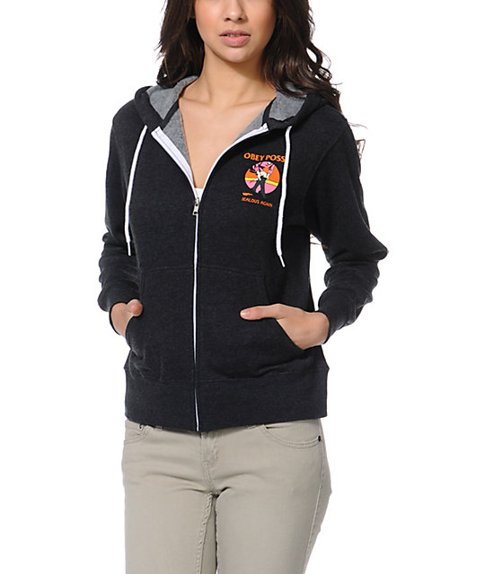 Obey Jealous Again Charcoal Grey Zip Up Hoodie