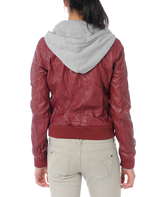 Obey Jealous Lover Dark Red Bomber Jacket