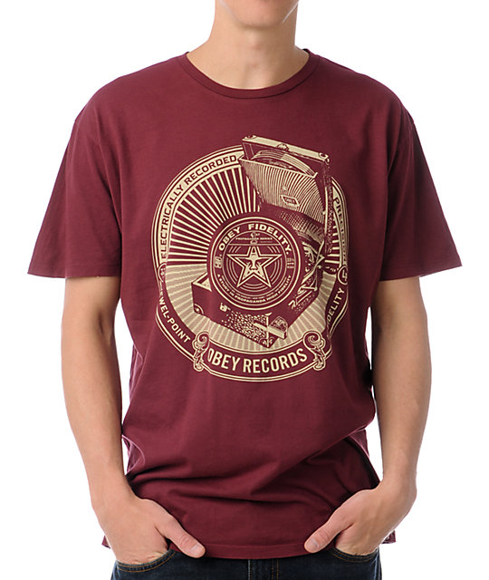 Obey Jewel Point LP Thrift Red T-Shirt
