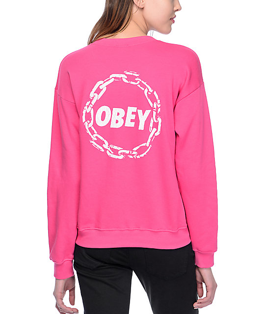 Obey Jumble Chain Delancey Fuchsia Womens Crew Neck Sweatshirt