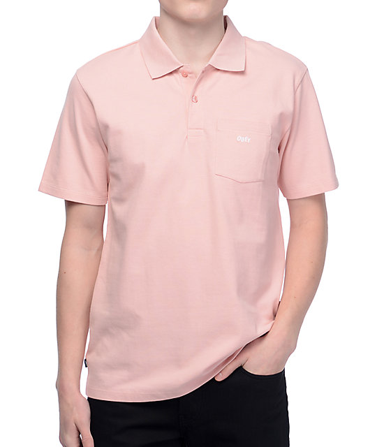 Obey Jumble Pink Polo Shirt