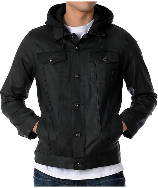 Obey Juvee Modern Coated Black Hooded Jacket