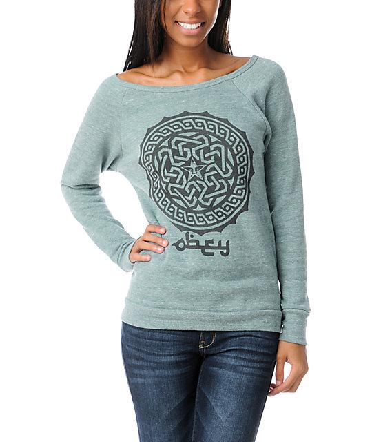 Obey Kalfia Vandal Green Crew Neck Sweatshirt