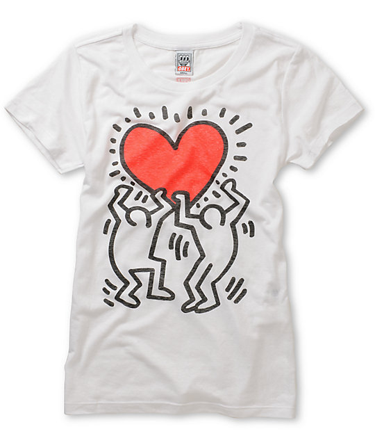 Obey Keith Haring Red Heart T-Shirt