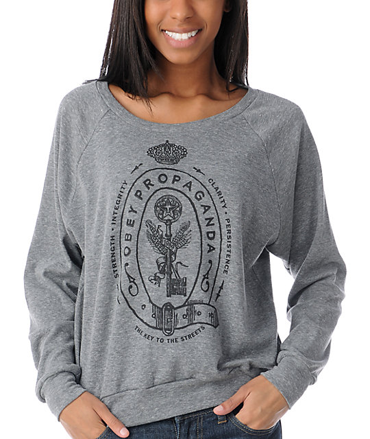 Obey Key To The Streets Grey Raglan Boyfriend Top