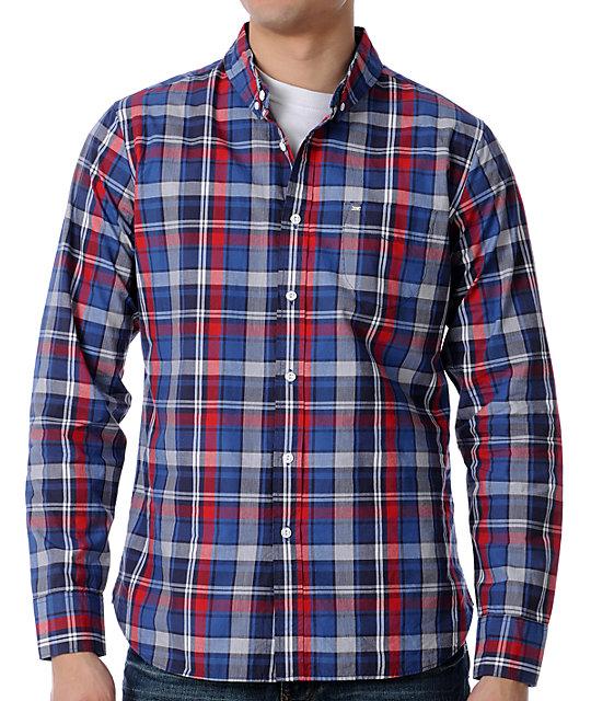 Obey Kilburn Navy Plaid Woven Shirt