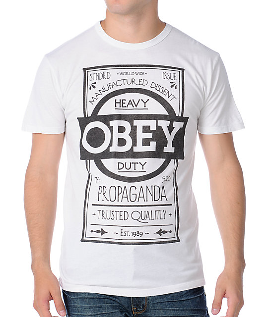 Obey Label Mens Light Pastel Grey T-Shirt