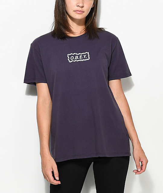 Obey Labour Of Love Chain Purple T-Shirt