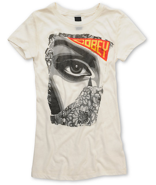 Obey Lady Collage White Fitted T-Shirt