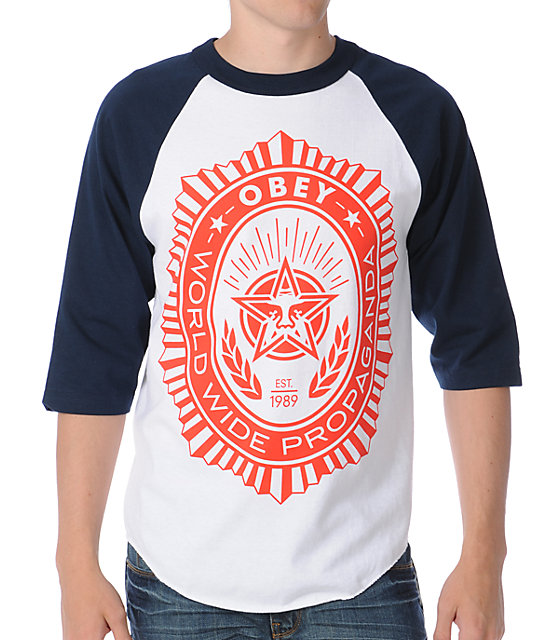 Obey Legion White Baseball T-Shirt