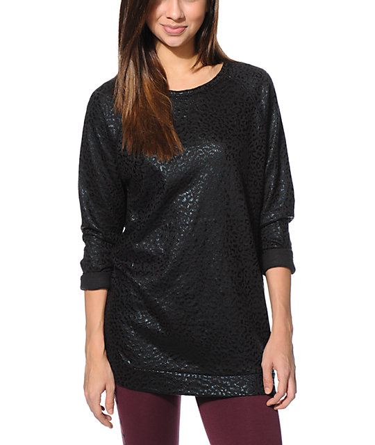 Obey Leopard Print Black Foil Echo Mountain Crew Neck Sweatshirt