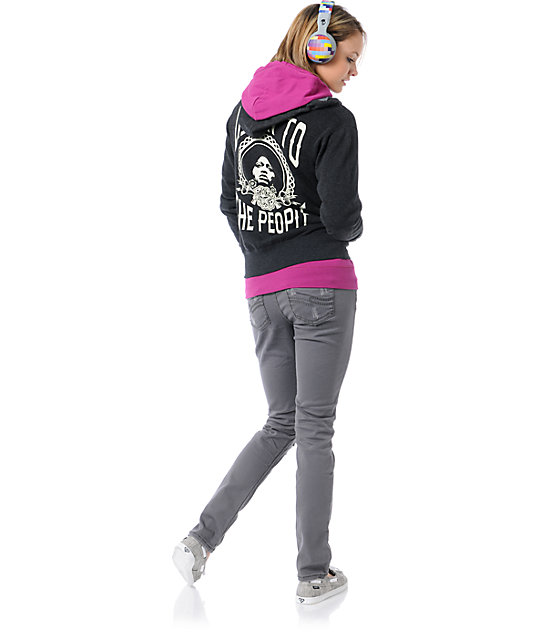 Obey Listen To The People Charcoal Zip Up Hoodie