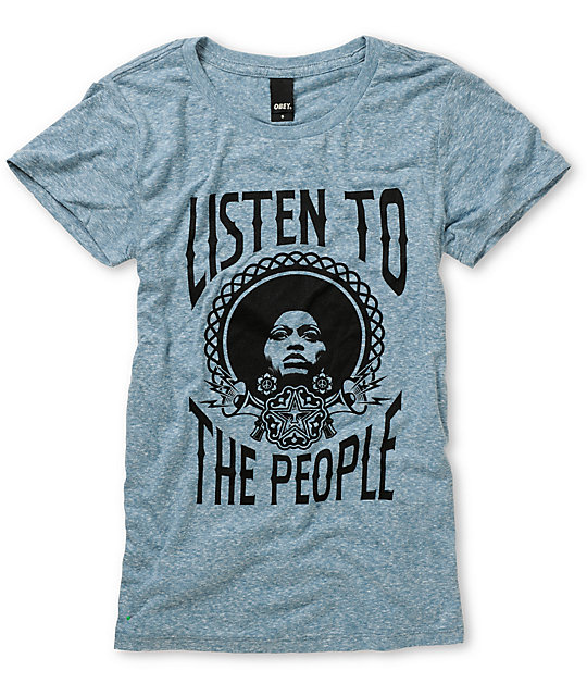Obey Listen To The People Heather Blue T-Shirt