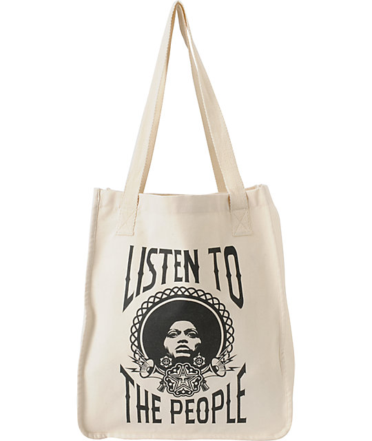 Obey Listen To The People Natural Tote Bag