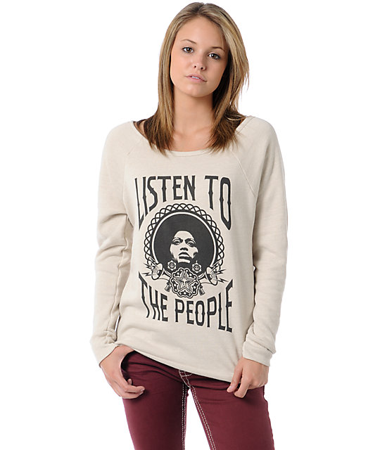 Obey Listen To The People Natural Vandal Crew Neck Sweatshirt