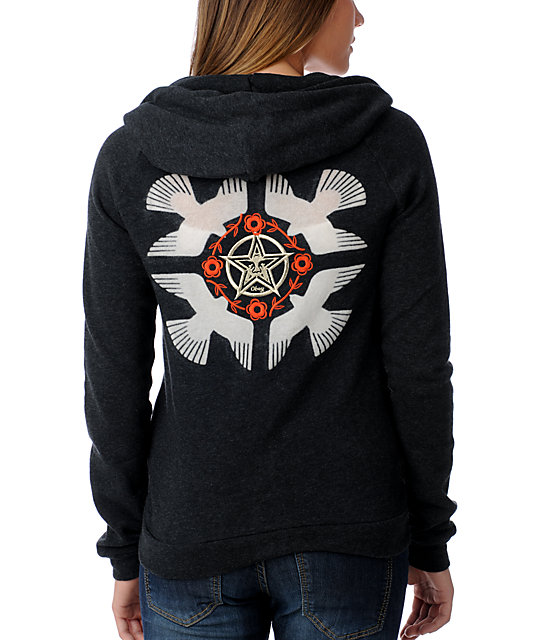 Obey Lost and Found Embroidered Black Hoodie