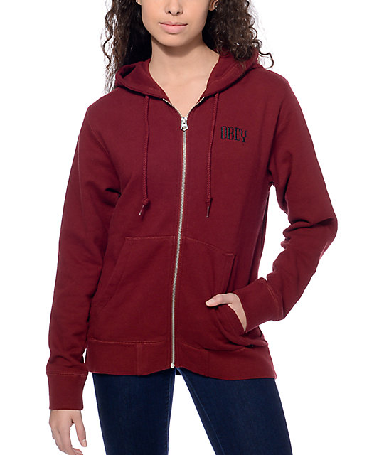 Obey Lotus Zip Up Burgundy Hoodie at Zumiez : PDP