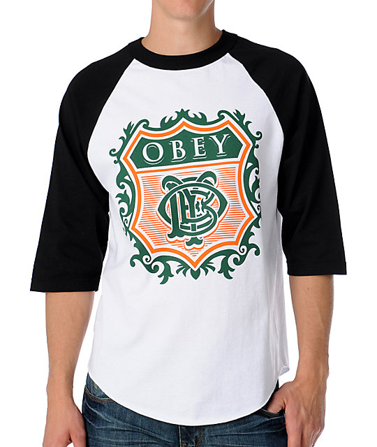 Obey Low Life Monogram White Baseball T-Shirt