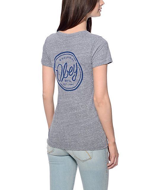 Obey MFG Heather Grey & Navy T-Shirt