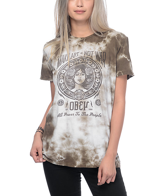 Obey make art not war 2 olive tie dye t shirt for Tie dye printed shirts
