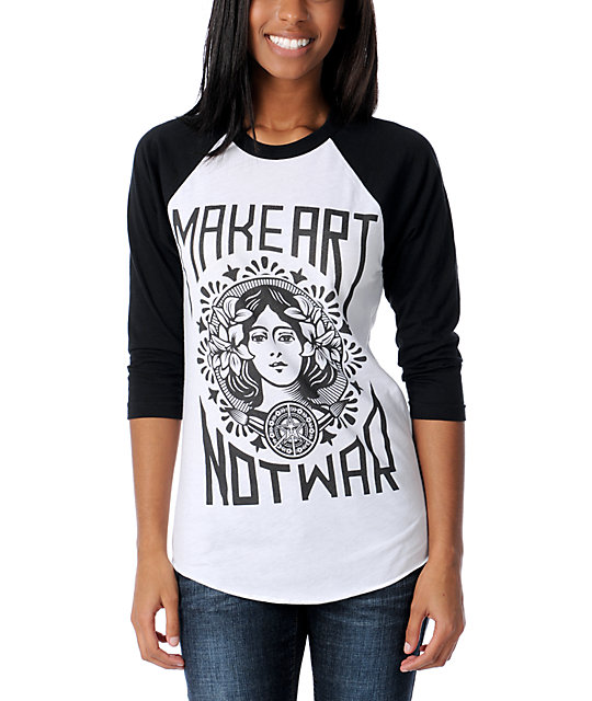 Obey Make Art Not War Black Baseball Tee