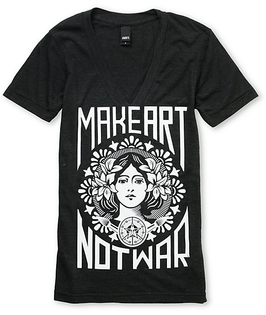 Obey Make Art Not War Black Glow In The Dark V-Neck T-Shirt