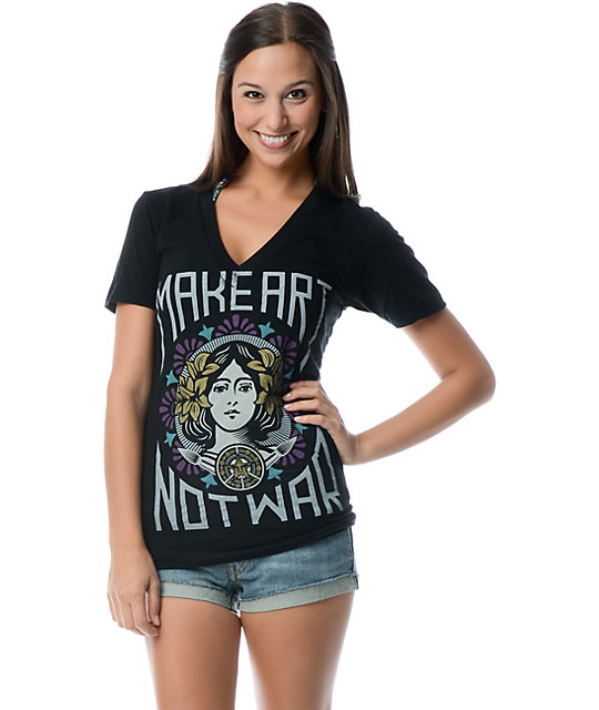 Obey Make Art Not War Black V-Neck T-Shirt