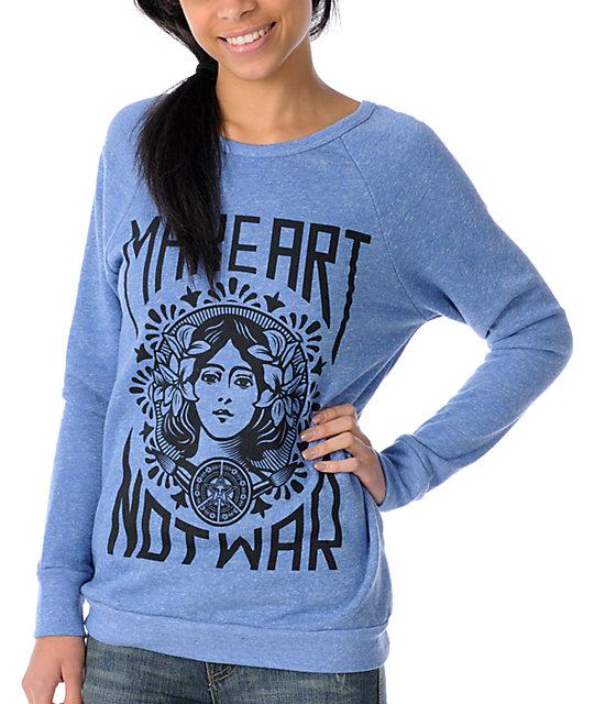Obey Make Art Not War Blue Boyfriend Pullover Sweatshirt