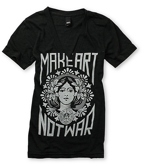 Obey Make Art Not War Charcoal T-Shirt