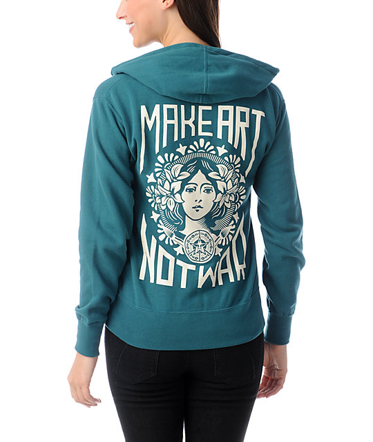 Obey Make Art Not War Dark Teal Zip Up Hoodie