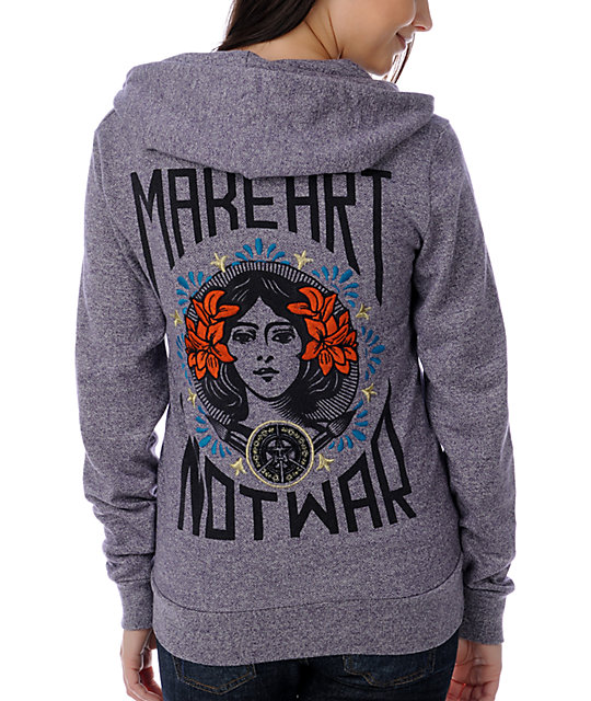 Obey Make Art Not War Embroidered Purple Hoodie