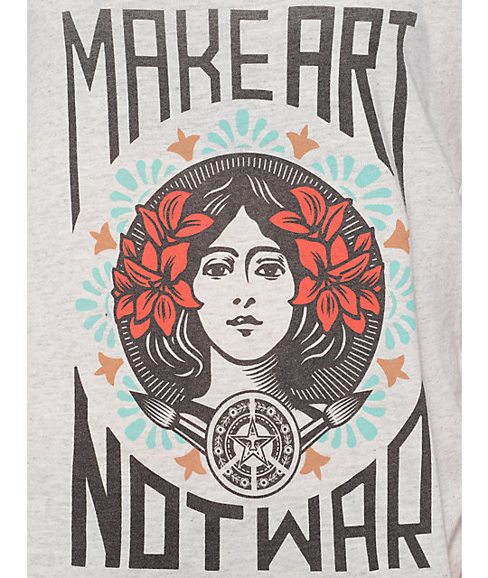 Obey Make Art Not War Heather Ash Track Tank Top