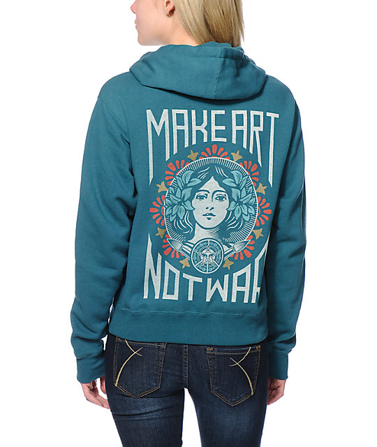 Obey Make Art Not War Teal Pullover Hoodie