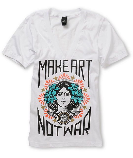 Obey Make Art Not War White V-Neck T-Shirt