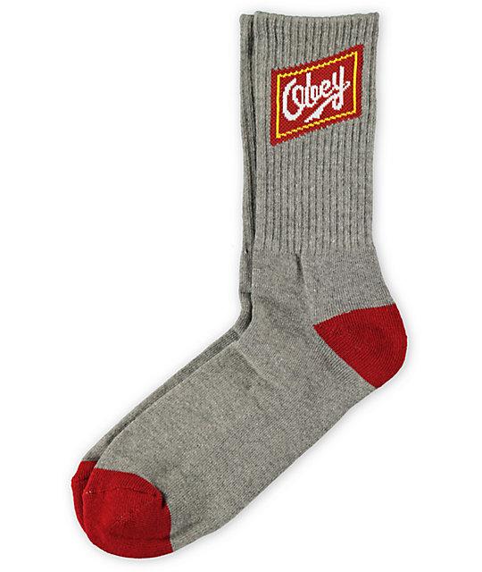 Obey Malt Liquor Grey & Red Crew Socks