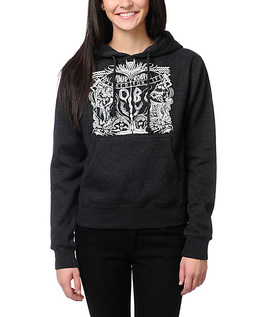 Obey Marked For Life Charcoal Grey Pullover Hoodie