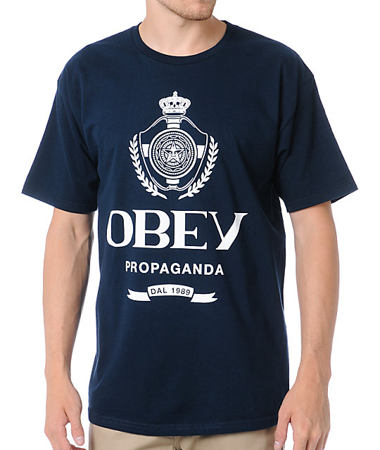 Obey Mens Nada Navy Blue T-Shirt