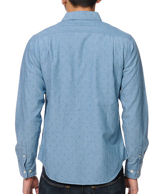 Obey Mercer Blue Dot Long Sleeve Button Up Shirt