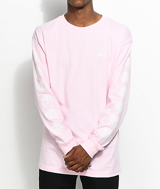 Obey Mira Rosa 2 Pink & White Long Sleeve T Shirt by Obey