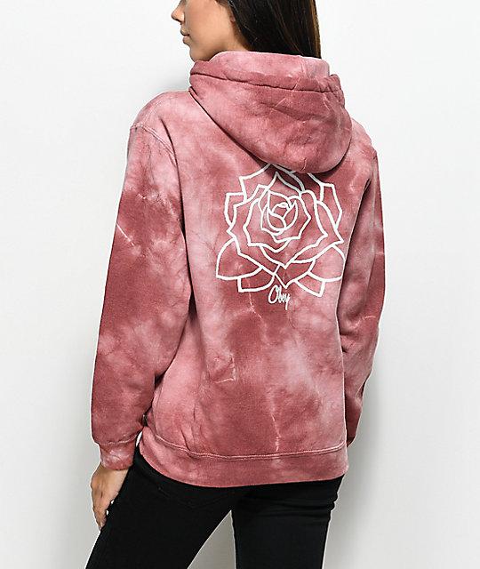 Obey mira rosa dusty rose tie dye hoodie zumiez for Order tie dye roses online