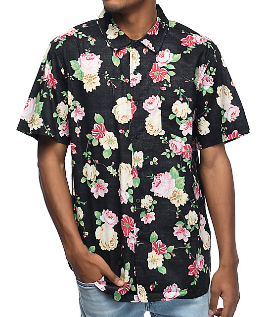 Obey Moku Black Floral Button Up Shirt At Zumiez Pdp
