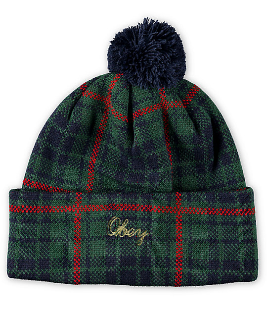 obey morton plaid pom beanie. Black Bedroom Furniture Sets. Home Design Ideas