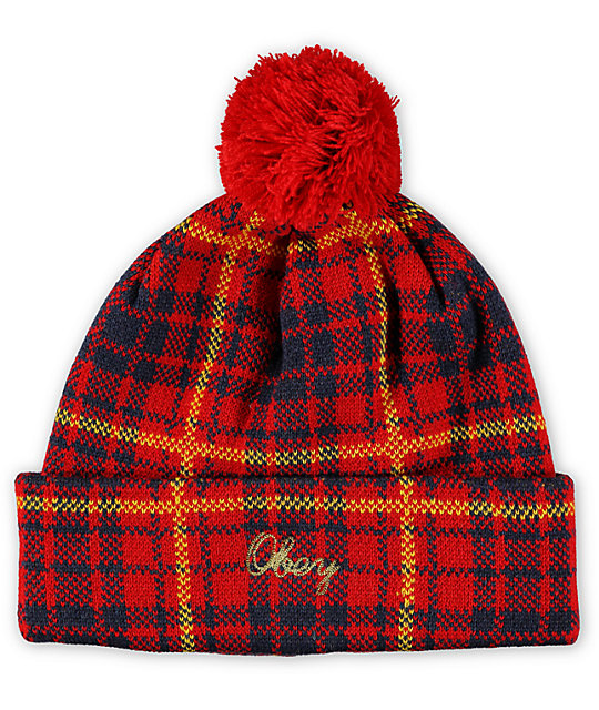 obey morton red plaid pom beanie at zumiez pdp. Black Bedroom Furniture Sets. Home Design Ideas