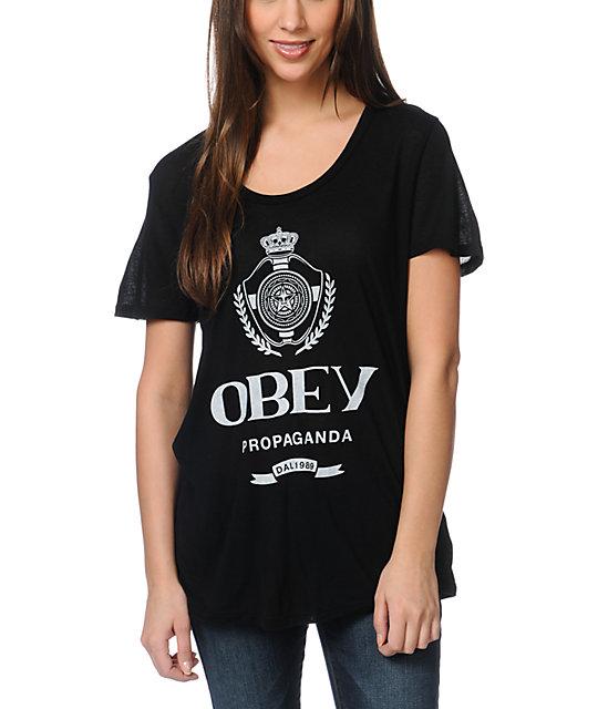 Obey Nada Beau Black Scoop Neck T-Shirt