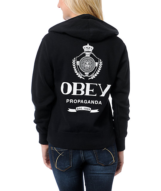 Obey Nada Black Zip Up Hoodie