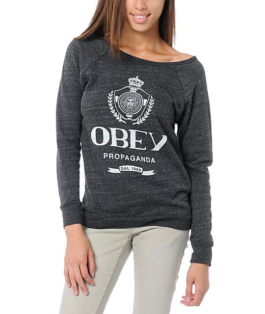 Obey Nada Vandal Grey Crew Neck Sweatshirt