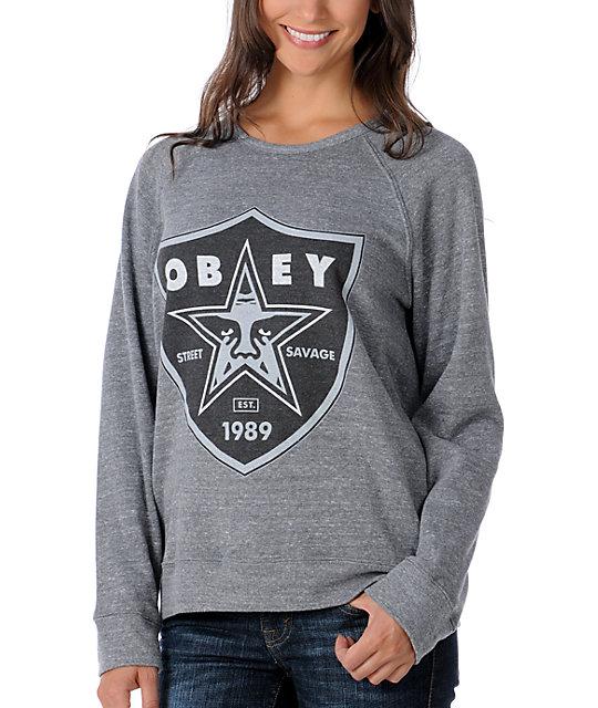 Obey Nation Heather Grey Pullover Sweatshirt